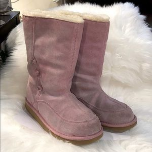 Ugg Women's Pink Suede Leather Boots Lace Up/Fold